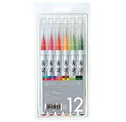 FARBE / MEDIA FLUID / MIXED MEDIA ZIG Set of Real Brush Pens in 12 Colors - ONLY 1 set in stock! (with video inspiration with these pens)