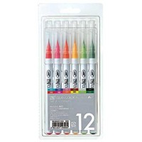 ZIG Set of Real Brush Pens in 12 Colors - ONLY 1 set in stock! (with video inspiration with these pens)