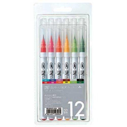 FARBE / MEDIA FLUID / MIXED MEDIA ZIG Set Real Pinsel Stifte in 12 Farben - NUR noch 1 SET vorrätig! (mit Video Inspiration mit diese Stiften)