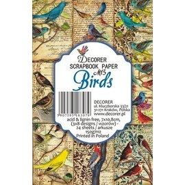 decorer Bloc de papier pour cartes et scrapbooking, oiseaux, 7 x 10,8 cm, 150 g / m²