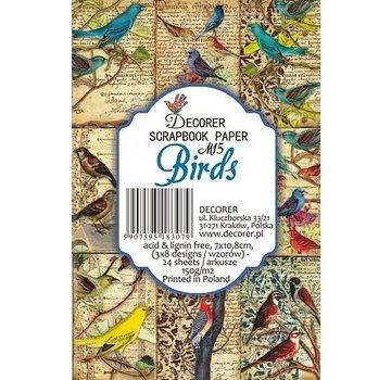 decorer Carte e blocco di carta scrapbooking, uccelli, 7 x 10,8 cm, 150 gsm