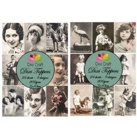 Vintage, Nostalgia und Shabby Shic Tarjetas y papel de scrapbooking, 2 piezas.