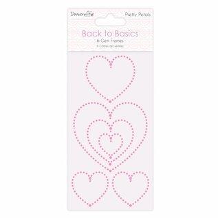 Docrafts / Papermania / Urban Utsmykker / Utsmykker: Smale selvklebende edelstener hjerter