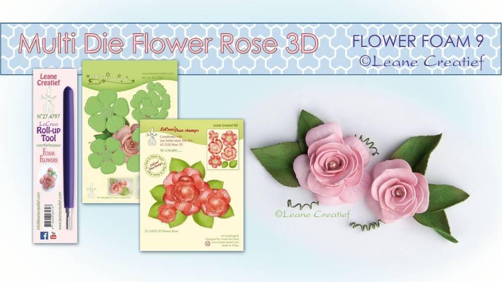Matrices de perforation 3D Rose + tampons par Leane Creatief + caoutchouc mousse