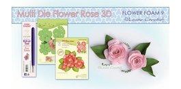 Plantillas de estampado de rosas en 3D + sello de Leane Creatief + espuma de flores, goma esponja