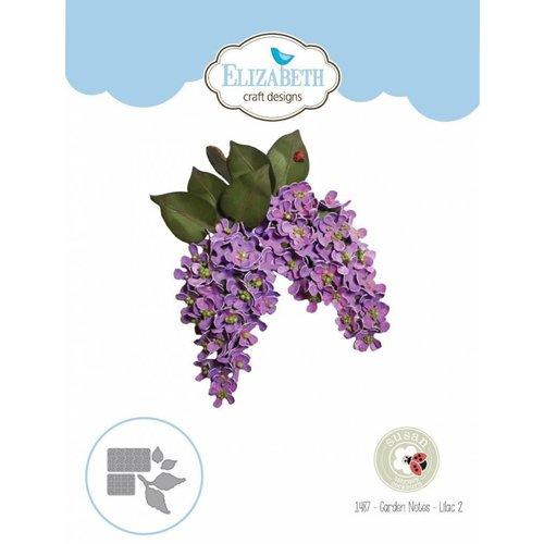 Elisabeth Craft Dies , By Lene, Lawn Fawn Matrices de découpe, Notes de jardin - fleur lilas
