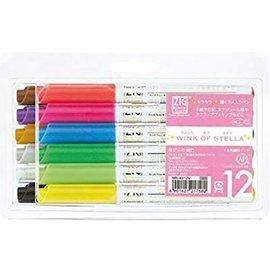 FARBE / MEDIA FLUID / MIXED MEDIA ZIG WINK of STELLA - Crayon gel avec des effets de paillettes légèrement colorés en 12 couleurs