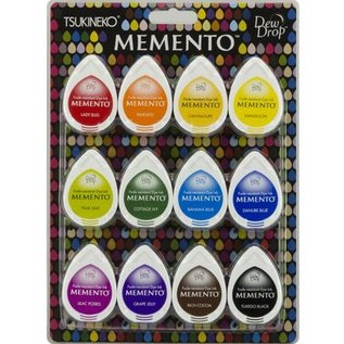FARBE / STEMPELKISSEN Stamp Ink: Memento Dew Drops Set van 12 kleuren! sneldrogende inkt die niet vervaagt en goed afdekt.