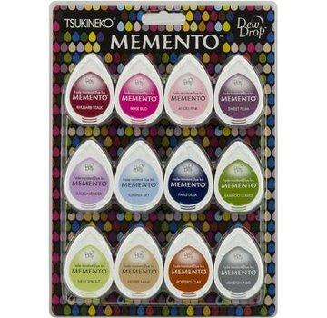 FARBE / STEMPELKISSEN Stempelblæk: Memento Dew Drops Sæt med 12 farver! hurtigtørrende blæk, der ikke falmer og dækker godt.