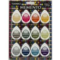 Stamp Ink: Memento Dew Drops Set of 12 Color! fast-drying ink that does not fade and covers well.