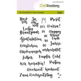 Crealies und CraftEmotions Stempelmotief met Duitse teksten voor de bruiloft