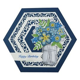 """CREATIVE EXPRESSIONS und COUTURE CREATIONS Stamp motif, transparent, flower bouquet in vase by """"Creative Expressions"""""""