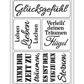 """Schablonen, für verschiedene Techniken / Templates Modello di arte flessibile: testo tedesco """"Glücksgefühl"""""""