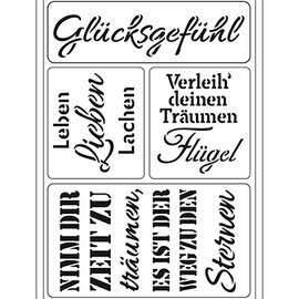 """Schablonen, für verschiedene Techniken / Templates Plantilla de arte flexible: texto alemán """"Glücksgefühl"""""""