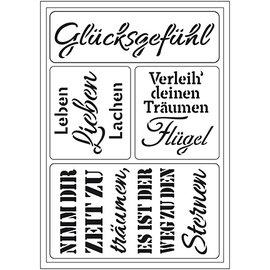 "Schablonen, für verschiedene Techniken / Templates Modèle d'art flexible: texte allemand ""Glücksgefühl"""