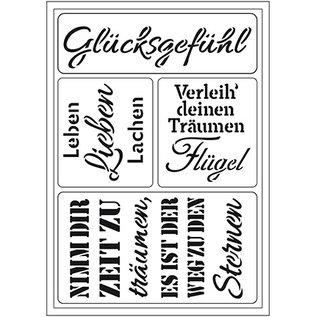 "Schablonen, für verschiedene Techniken / Templates Flexibele kunstsjabloon: Duitse tekst ""Glücksgefühl"""