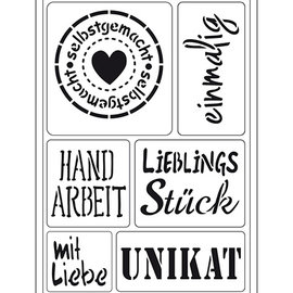"Schablonen, für verschiedene Techniken / Templates Plantilla de arte flexible: texto alemán ""Hecho en casa"""
