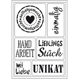 "Schablonen, für verschiedene Techniken / Templates Flexible art template: German text ""Homemade"""