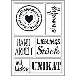 """Schablonen, für verschiedene Techniken / Templates Flexibele kunstsjabloon: Duitse tekst """"Homemade"""""""