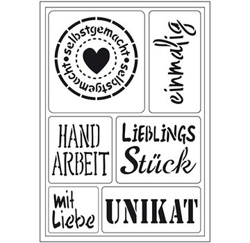 "Schablonen, für verschiedene Techniken / Templates Fleksibel kunstmal: Tysk tekst ""Hjemmelavet"""