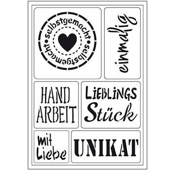 """Schablonen, für verschiedene Techniken / Templates Modello di arte flessibile: testo tedesco """"fatto in casa"""""""
