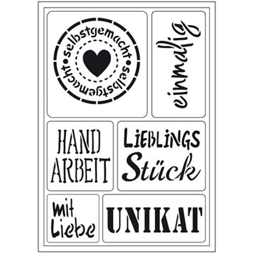 """Schablonen, für verschiedene Techniken / Templates Flexible Kunstschablone:  deutsche Text """"Selbst gemacht"""""""