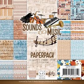 """Karten und Scrapbooking Papier, Papier blöcke Tarjeta y bloc de notas de papel """"Sonidos de la Música""""."""
