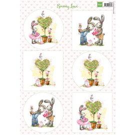 Bilder, 3D Bilder und ausgestanzte Teile usw... A4 blat met beeldjes: Bunny Love
