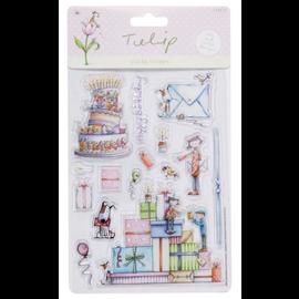 Docrafts / Papermania / Urban Tampon, transparent, 14 motifs, tels que gâteaux, cadeaux