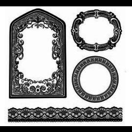 Stamperia und Florella Frimærke, lavet af naturgummi, dekorative rammer, etiketter og grænser.