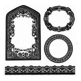 Stamperia und Florella Stempel, laget av naturgummi, dekorative rammer, etiketter og grenser.