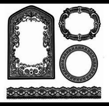 Stamperia Timbro, realizzato in gomma naturale, cornici decorative, etichette e bordi.