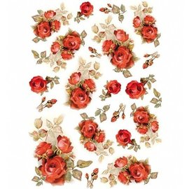 Stamperia und Florella Stamperia Decoupage Papel de Arroz A4 Rosas Rojas