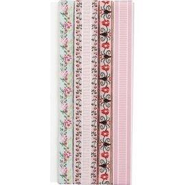 DEKOBAND / RIBBONS / RUBANS ... Decoratie lint: Embroidery bloemen