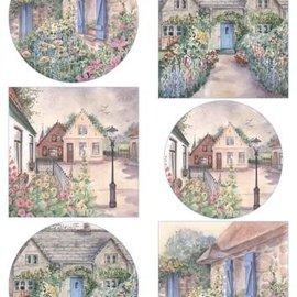 Marianne Design A4 Blatt mit Bilder, schöne Cottages, zum Basteln mit Papier