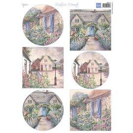 Marianne Design A4 hoja con fotos, bonitas casas de campo