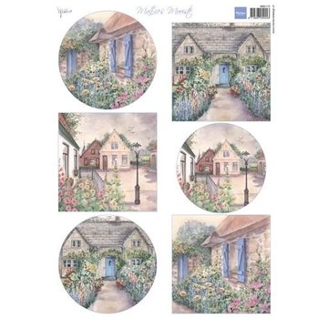 Marianne Design A4-blad met foto's, mooie huisjes
