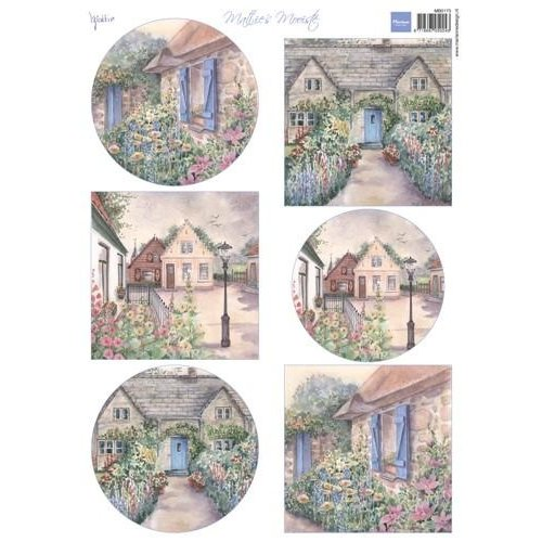 Marianne Design A4 sheet with pictures, nice cottages