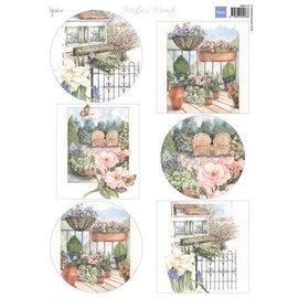 Marianne Design Feuille A4 avec des images, le plus beau jardin