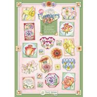 """SET med 10 forskellige stempler med blomstermotiver af kunstneren """"Marij Rahder"""""""
