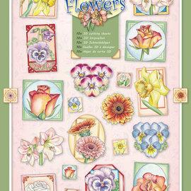"""BASTELSETS / CRAFT KITS IMPOSTARE con 10 diversi fogli per timbri con motivi floreali dell'artista """"Marij Rahder"""""""