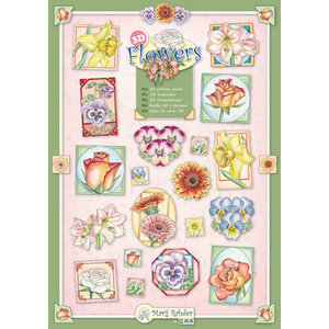 "BASTELSETS / CRAFT KITS SET with 10 various stamping sheets with flowers motifs by the artist ""Marij Rahder"""