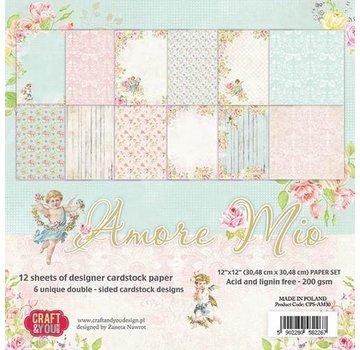 Karten und Scrapbooking Papier, Papier blöcke Papirblok, Amore Mio, 30,5 x 30,5 cm