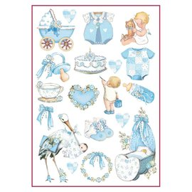 Stamperia Stamperia Decoupage Rice Paper A4 Baby Boy Decorations