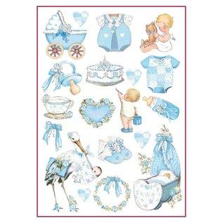 Stamperia Stamperia Decoupage Ris A4 Papir Baby Boy Dekorationer