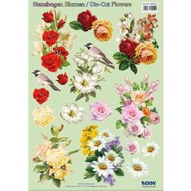 Bilder, 3D Bilder und ausgestanzte Teile usw... Foglio A4 3D pre-tagliato: mazzi di fiori