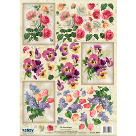 3D Pusch Out A4 sheets: roses, tulips and violets