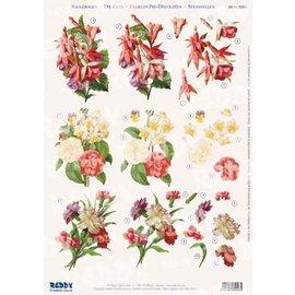 3D Vorgestanzte A4 Bogen: Rosen, Nelken, Fuchsien