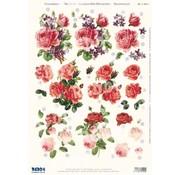 3D Pre-cut A4 sheet: roses
