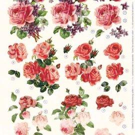 Feuille A4 prédécoupée 3D: roses